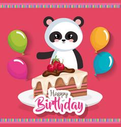 happy birthday card with bear panda vector image