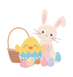 happy easter day rabbit chicken in eggshell vector image