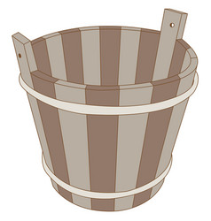 image of a wooden bucket vector image