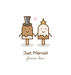 just married couple of ice creams vector image