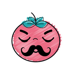 Kawaii nice sleeping tomato vegetable vector