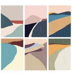 Landscape background with japanese wave pattern vector
