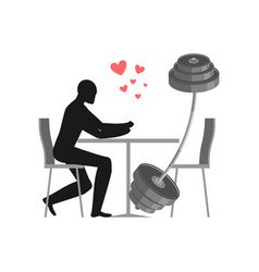 lover fitness sport man and barbell in cafe vector image