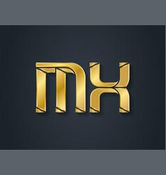 M and x initial golden logo mx - metallic 3d icon vector