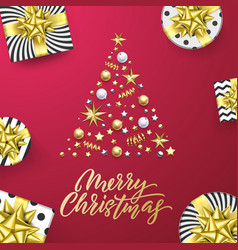 merry christmas golden greeting card pink vector image