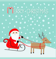 merry christmas santa claus sleigh deer vector image