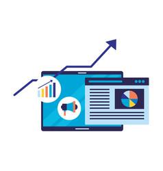 mobile page diagram arrow search engine vector image
