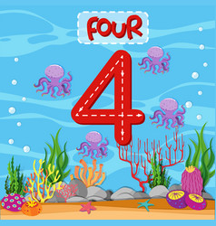 Number four underwater theme vector