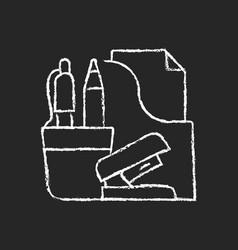 office supplies chalk white icon on dark vector image