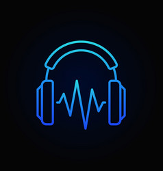 on-ear blue headphones with sound wave line vector image