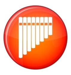 Pan flute icon flat style vector image