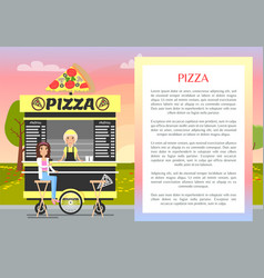 Pizza mobile stand in cute summer park banner vector