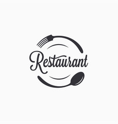 plate with fork and spoon restaurant logo vector image