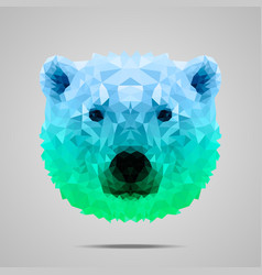 Polar bear poly gradient blue green vector image