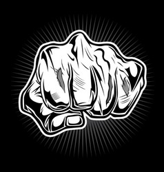 Punching hand hardcore tatoo boxing vector