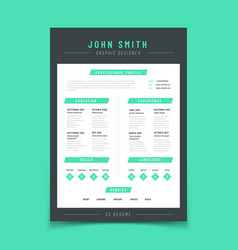 Resume letter personal cv sample with vector