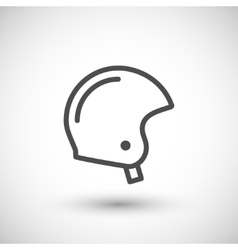 Retro motorcycle helmet line icon vector