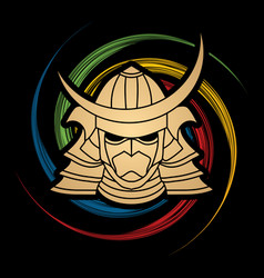 samurai mask samurai helmet head weapon vector image