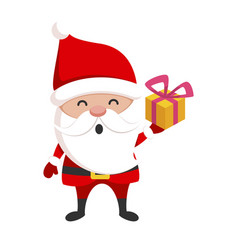 santa claus with gift box present and christmas vector image