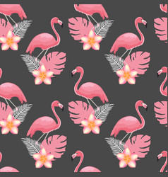 seamless pattern flamingos and tropical plants vector image