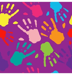 Seamless pattern hand colorful prints vector