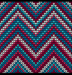 seamless waves knitting pattern background vector image