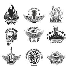 set rock music emblems isolated on white vector image