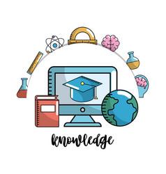 Set school utensils to education knowledge vector