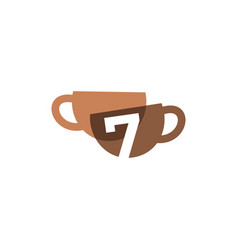 seven 7 number coffee cup overlapping color logo vector image