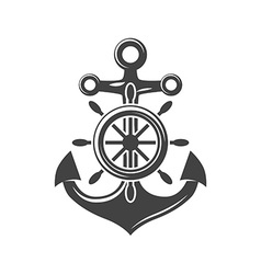 Ship steering wheel and anchor Black icon logo vector