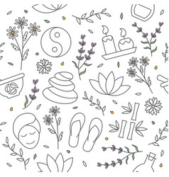 spa seamless pattern spa background in line vector image