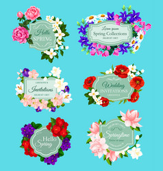 Spring flowers bouquets wedding invitations vector
