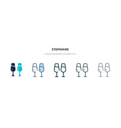 Stemware icon in different style two colored and vector