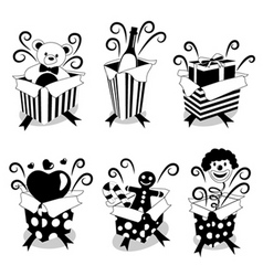surprise gifts black version vector image