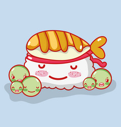 sushi cute kawaii cartoon vector image