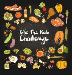 Take keto challenge - ketogenic food vector