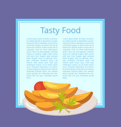 Tasty food poster with roasted potatoes on plate vector