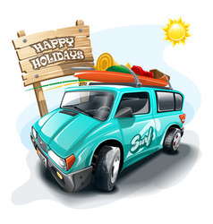 Tourist van near signboard with inscription happy vector