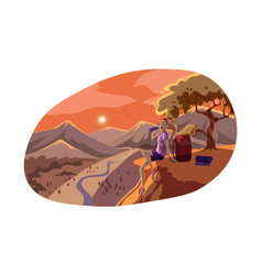 Travelling tourism rest nature hiking concept vector