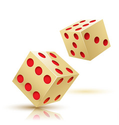 two gold dices gambling icon vector image