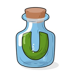 U in scientific laboratory bottle Letter in a vector image