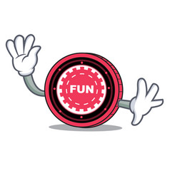 waving funfair coin character cartoon vector image