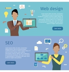 Web Design SEO Web Banners in Flat Style vector