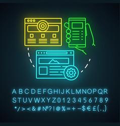 Website neon light icon channels for seo sem web vector