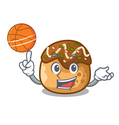 With basketball cartoon cooking takoyaki in baked vector