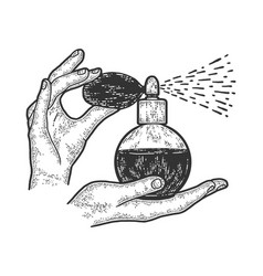 Woman hands holding a vintage perfume bottle with vector