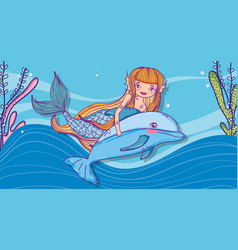 Woman mermaid with dolphin and tropical plants vector