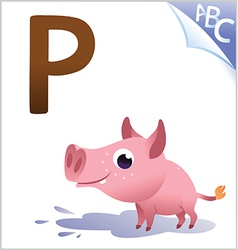 Animal alphabet for the kids P for the Pig vector image