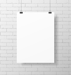 Blank white poster on brick wall vector image vector image