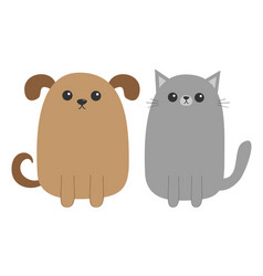 cartoon dog and cat puppy kitten mustache whisker vector image